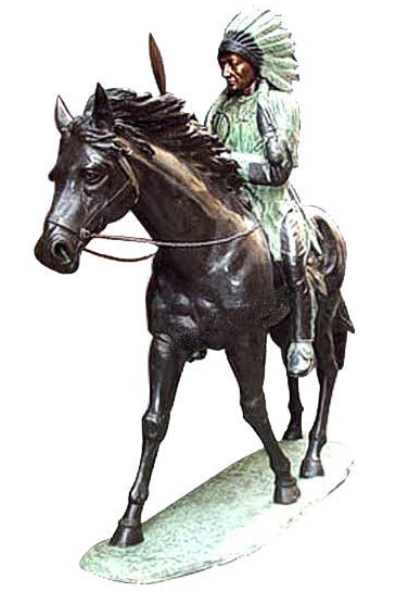 Bronze Indian on Horse - Click Image to Close
