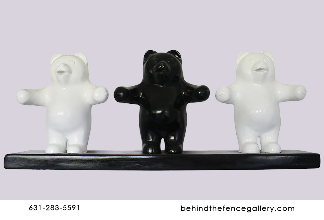 Black and White Gummy Bear Trio Wall Mount Statue