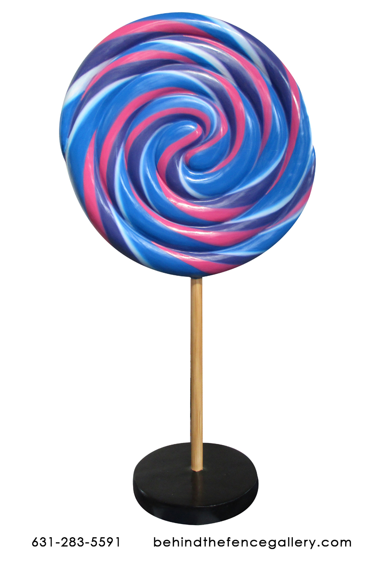 Blue and Pink Swirled Lollipop Candy Statue