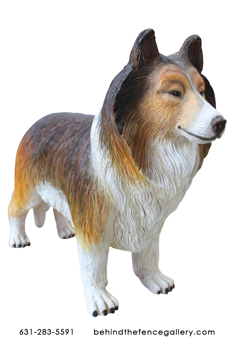 Life Size Rough Collie Dog Statue