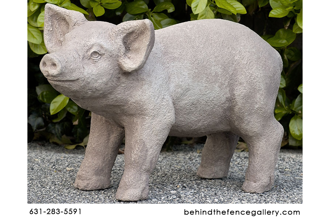 Curly Pig Cast Stone Statue