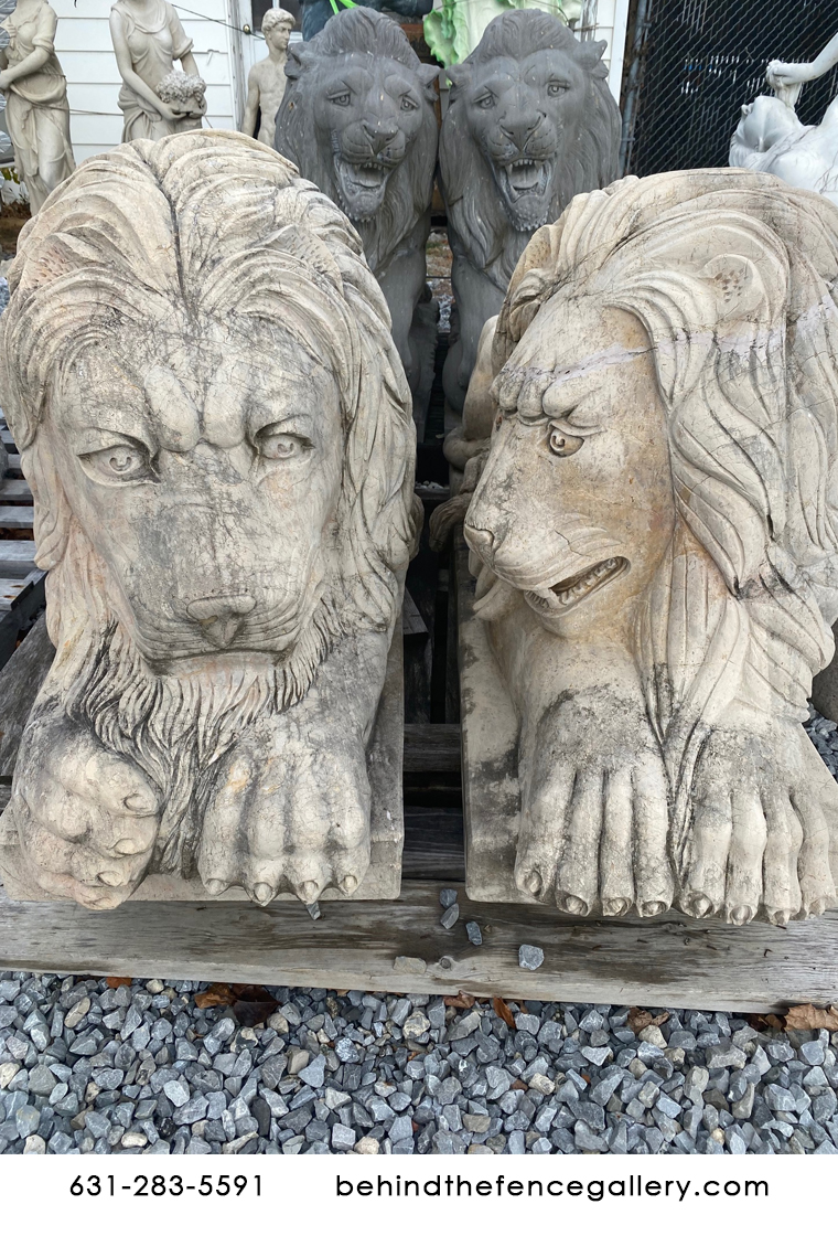 Liquidation Tan Stone Gate Guard Lions