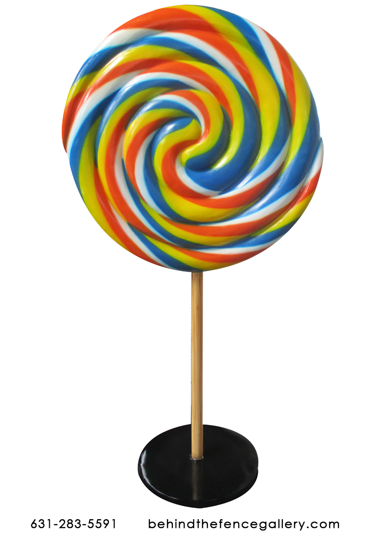 Rainbow Swirled Lollipop Candy Statue