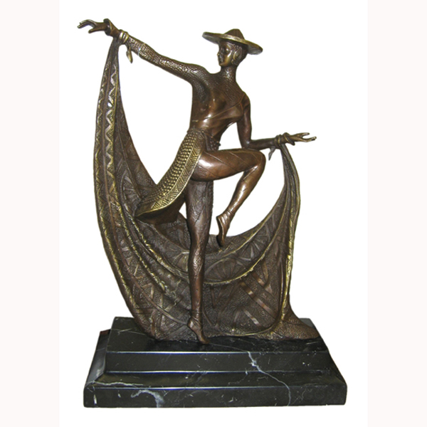 Bronze Deco Dance with Marble Base