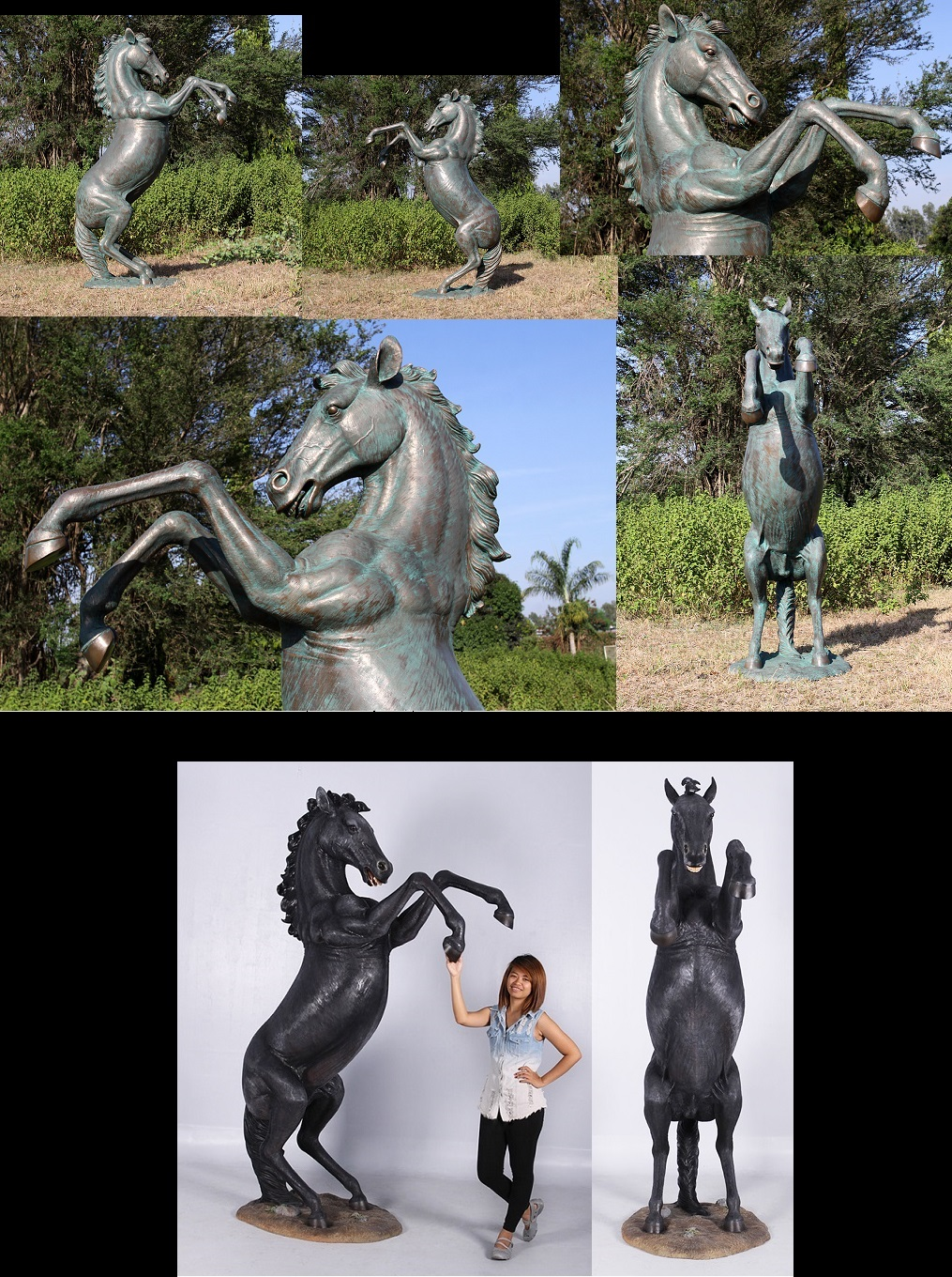 Fiberglass Bronze Finish Rearing Horse 8.5 Ft.