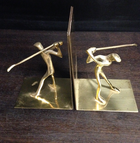 Golfer Book Ends Pair