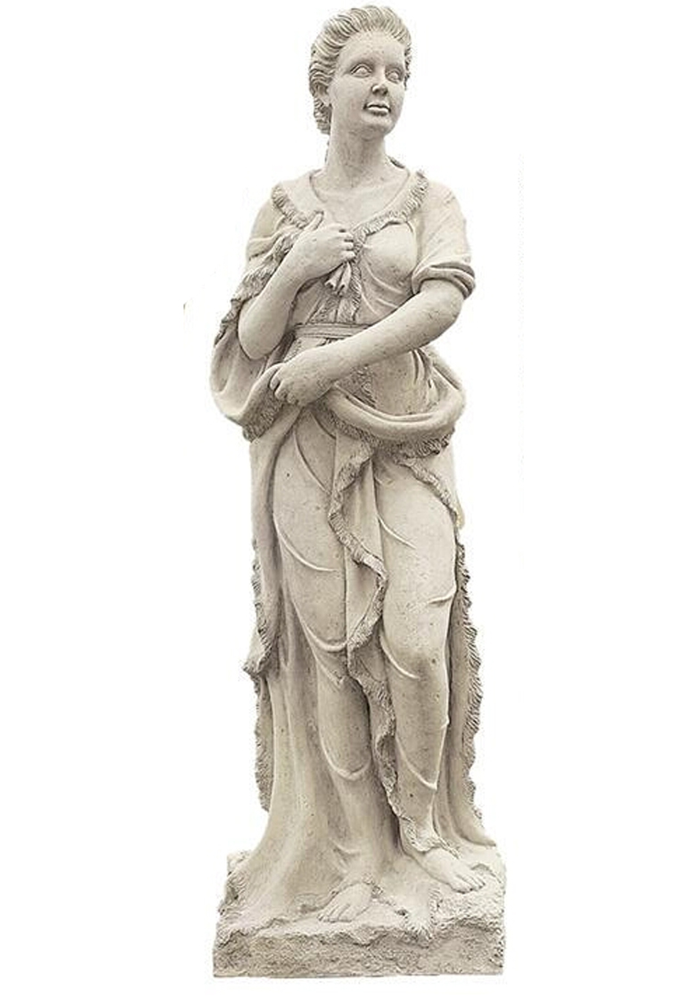 Four Seasons- Lady Winter Statue With Base