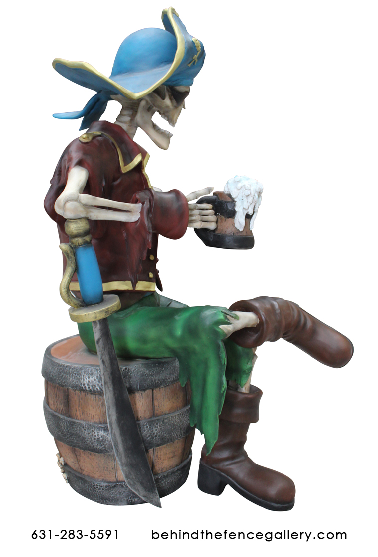 Eternal Pirate Skeleton With Beer Undead Life Size Statue - Click Image to Close