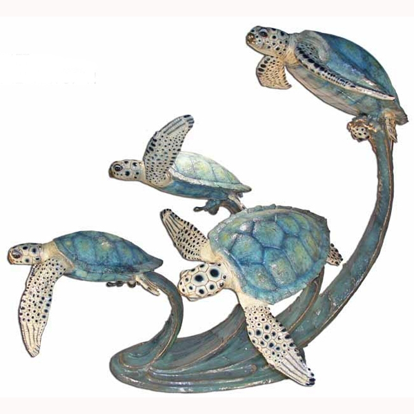 Bronze Four Turtle Swimming - Click Image to Close