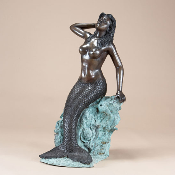 Bronze Mermaid on a Rock Fountain
