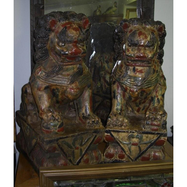 Hand Made Carved Foo Dogs