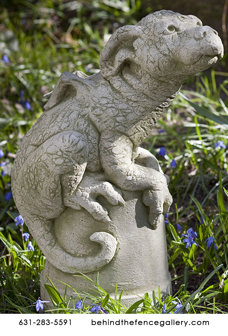Puddles the Cast Stone Dragon on Flower Pot