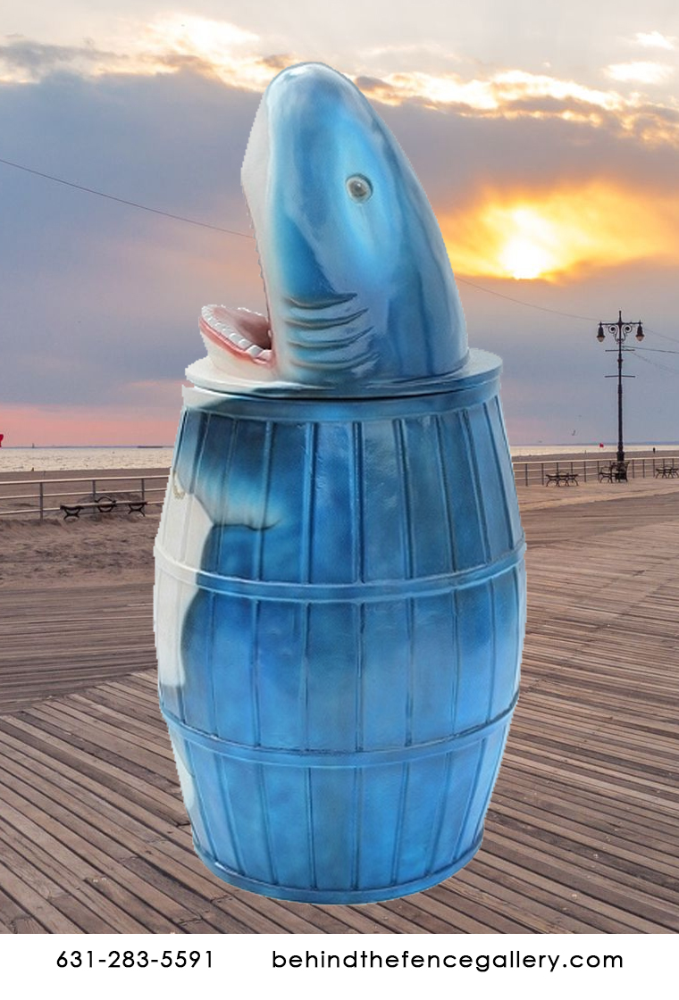 Large Great White Shark Waste Bin Statue