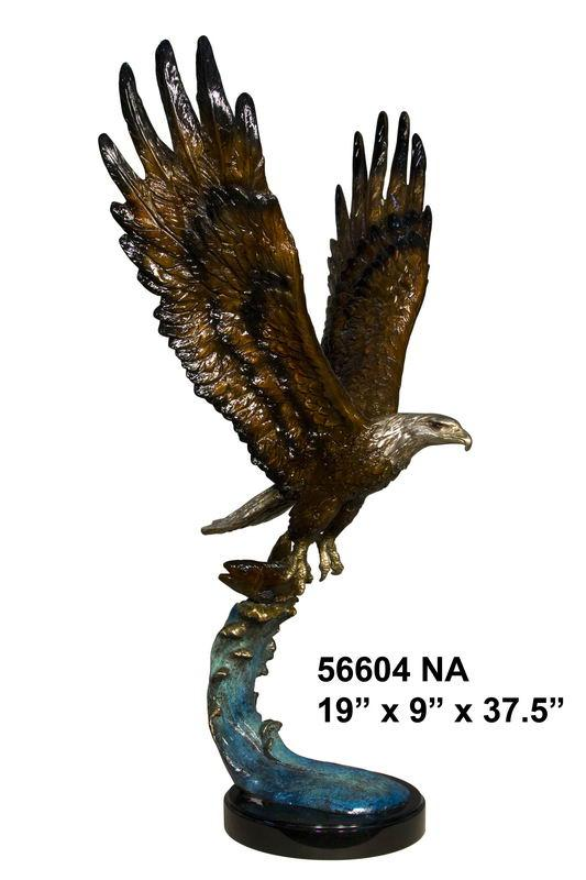 Bronze Flying Eagle On Wave 37.5""