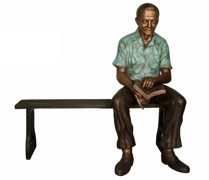 Bronze Man with Boon on Bench
