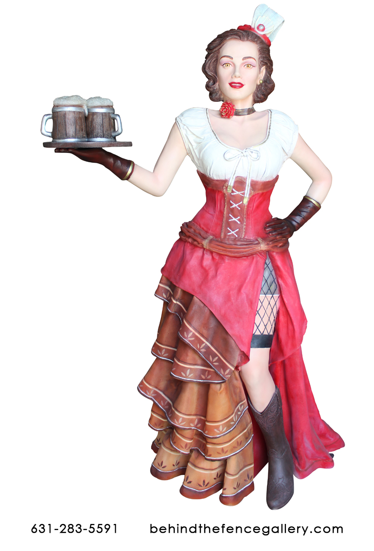 Old Western Country Saloon Woman Life Size Restaurant Decor