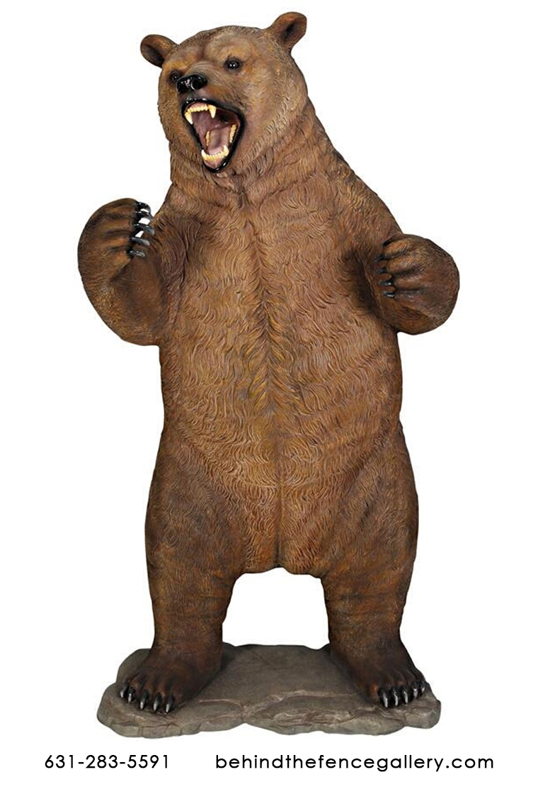 Roaring Standing Grizzly Bear Life Size Statue