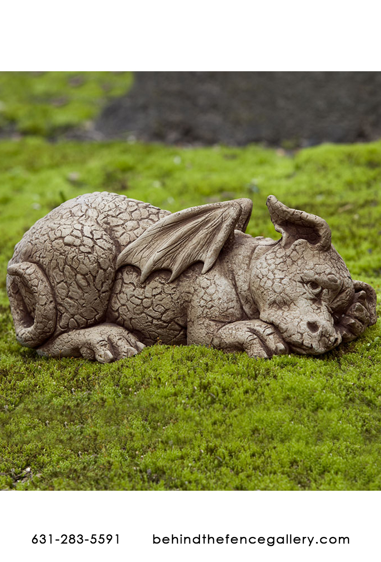 Puzzle the Cast Stone Medieval Winged Dragon